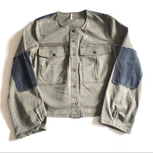 FREE PEOPLE Army Patchwork Jacket Size L